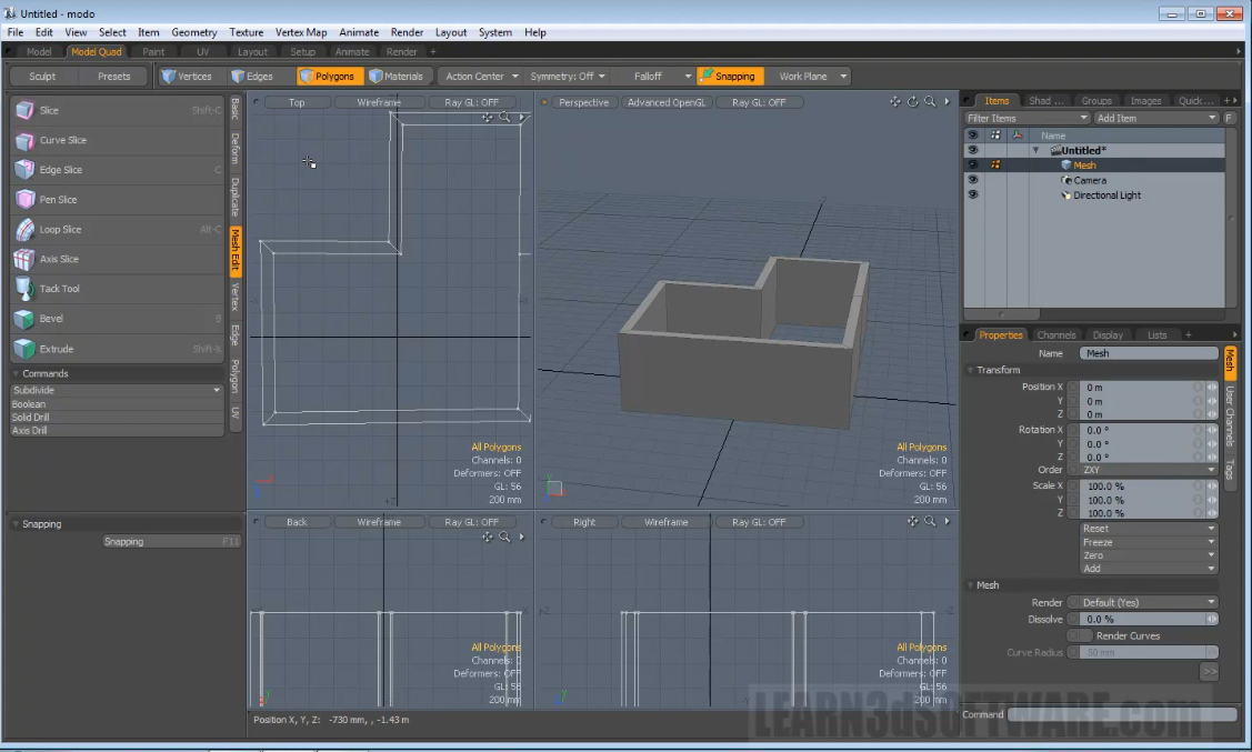Modo 501 Modeling Tools -Creating a Wall