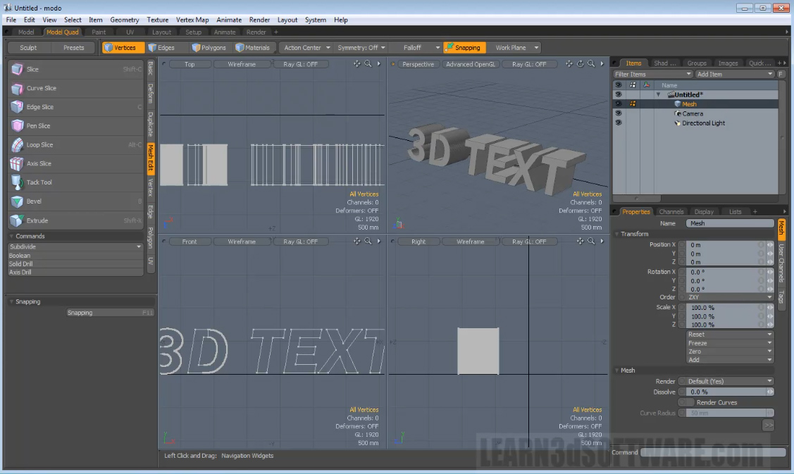 Modo 501 Modeling Tools -3D Text Tool